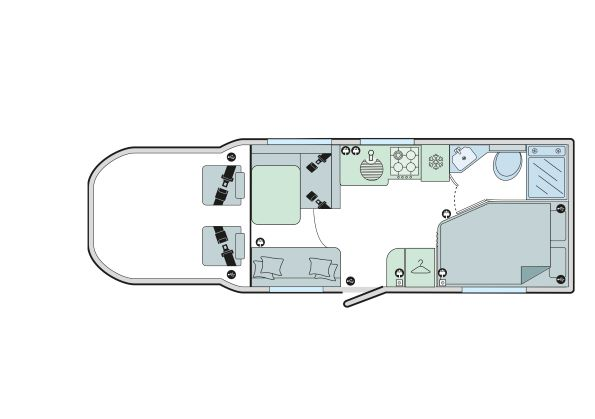 Autograph 74-4: 4 Berth, Forward Facing Front Dinette, Fixed Bed, Corner Washroom