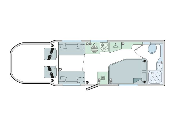 Autograph 79-2F: 4 Berth, Front Dinette, Side Fixed Bed, End Washroom