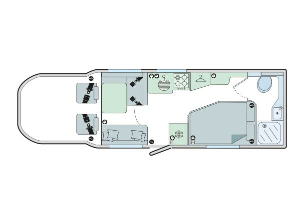 Autograph 79-4F: 4 Berth, Forward Facing Front Dinette, Side Fixed Bed, End Washroom