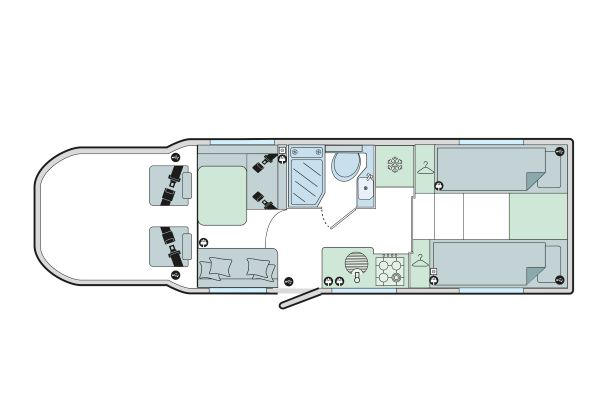 Autograph 79-4T: 4 Berth, Forward Facing Front Dinette, End Fixed Single Beds, Side Washroom
