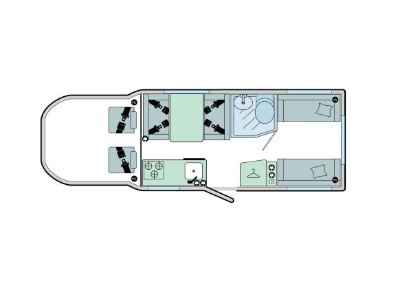 Advance 70-6: 6 Berth, 4 Seated Belts, Front Kitchen, Rear Dinette