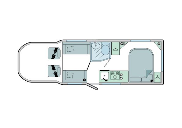 Advance 74-2: 4 Berth, Fixed End Transverse Bed, Front Dinette