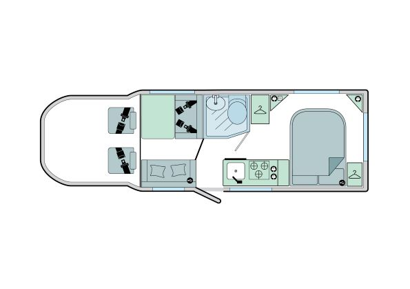 Advance 74-4: 4 Berth, 2 Seated Belts, Fixed End Transverse Bed, Front Dinette