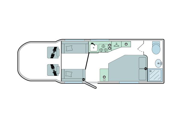 Advance 76-2: 4 Berth, Side Fixed Bed, End Washroom