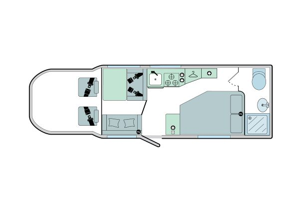 Advance 76-4: 4 Berth, 2 Seated Belts, Side Fixed Bed, End Washroom