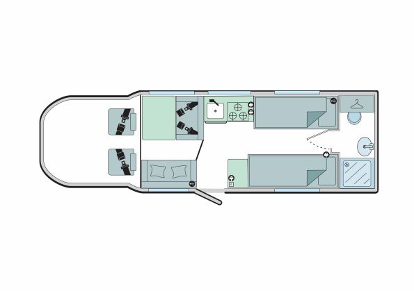 Advance 76-4T: 4 Berth, 2 Seated Belts, Single Beds, End Washroom