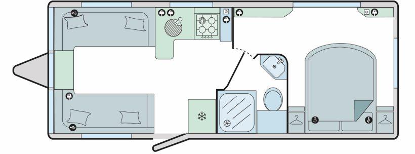 Faro - 4 Berth, Twin Axle, End Transverse Bed, Side Washroom