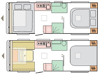 Tiber - 4 Berth, End Fixed Bed, Centre Washroom