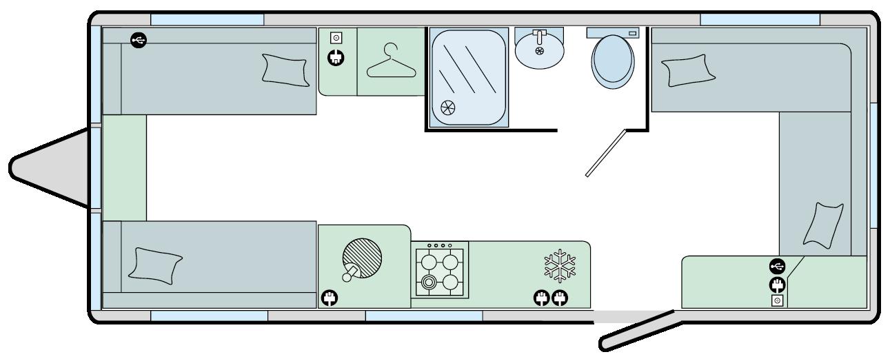 Ancona - 5 Berth, Front and Rear Dinette, 1 Bunk, Centre Washroom