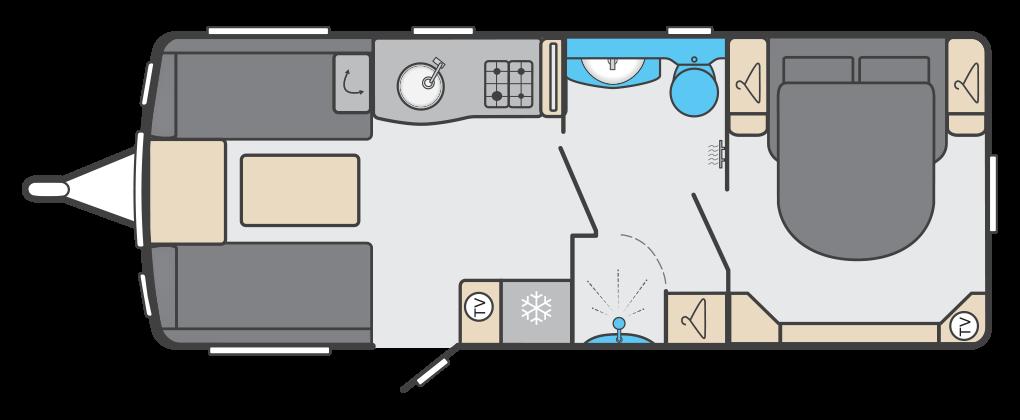 Elegance 835 - 4 Berth, Twin Axle, Transverse Fixed End Bedroom, Centre Washroom