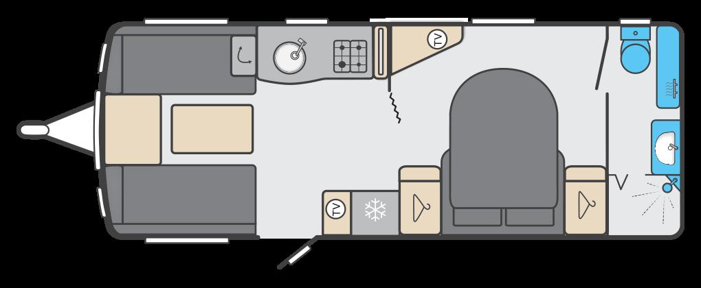 Elegance 845 - 4 Berth, Twin Axle, Transverse Fixed Bed, End Washroom