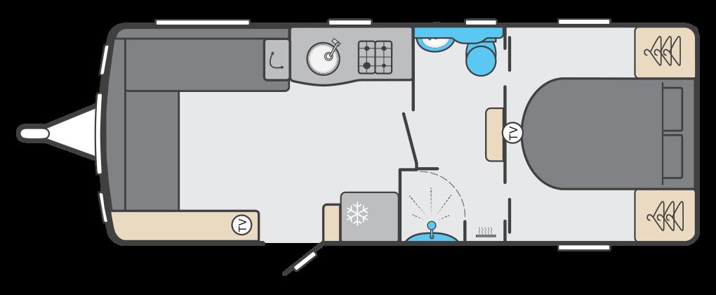 Elegance 850 - 4 Berth, Twin Axle, Centre Washroom, Fixed End Bedroom.