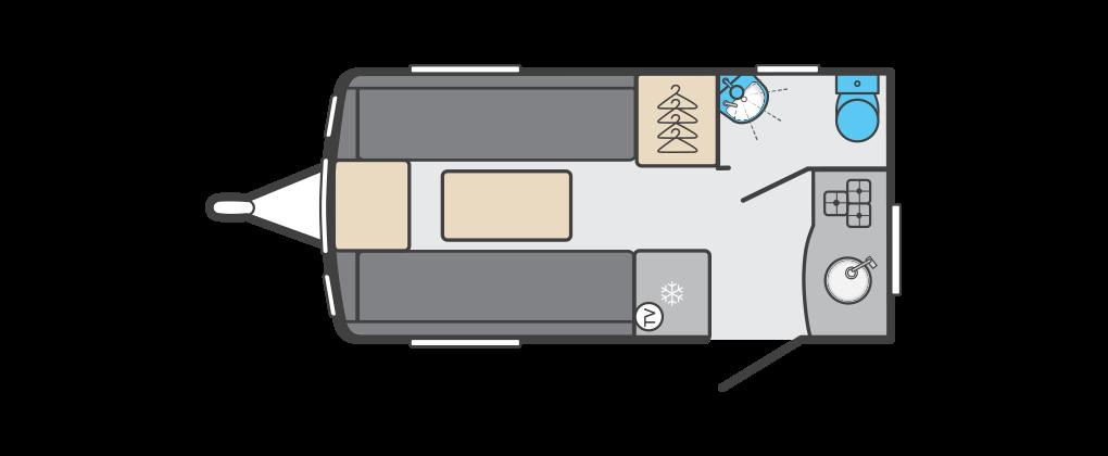 Compact - Rear Kitchen, Corner Washroom