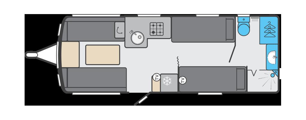 Conqueror 565 - 4 Berth, 2 Single Beds, End Washroom